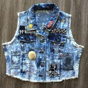 Punk Cropped Denim Vest